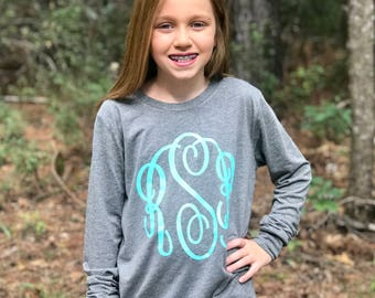 Monogrammed Tee Shirt, Monogrammed Shirts, Monogrammed long sleeve shirt - Gifts Under 20, Christmas Gifts for Her, Girl's and Women's Sizes