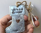 Custom Stocking Ornament - Hand Stamped - Baby's First - Dear Santa I Can Explain - Personalized with Name - Rustic Galvanized Metal