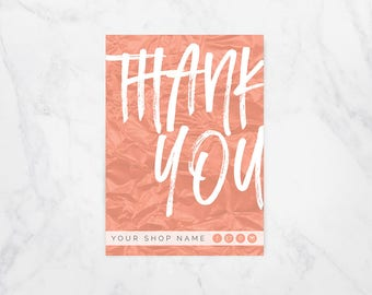 Custom Thank You Cards, Thank You Card Set, Printed Thank You Cards, 5x7 Cards, Packaging Inserts, Customized Thank You Card, Thank You Note