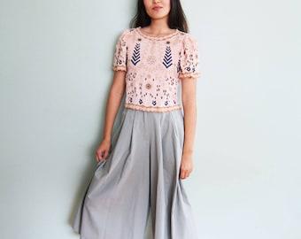 Culottes / Womens Culottes / Wide Leg Pants / High Waisted Pants / Sage Green Pants / Palazzo Pants / Culottes XS