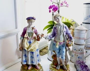 French Antique Porcelain Figurines, 18th century Rococo style, signed, c. 1920's, Romantic gallant figures, Valentines Gift, Lovers,