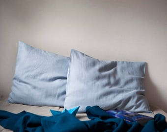 Set of 2 dusty BLUE linen pillowcases, euro shams, wabi sabi style