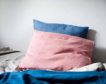 Set of 2 woodrose pink linen pillowcases, euro shams, king size slipcovers
