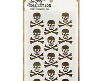 Tim Holtz CROSSBONES Stencil - STAMPERS ANONYMOUS---THS064