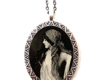 Gypsy Boho Necklace Pendant Silver Tone - Art Deco 1920s Showgirl Dancer Roaring 20s Flapper Ziegfeld Follies
