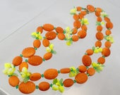 FREE Shipping Vintage Orange Yellow Lime Green Fruit and Floral Beaded Necklace Hong Kong 1950s Double Strand 2 strings Plastic Retro Junk