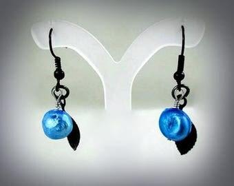 Blue Freshwater Pearl Earrings Blue and Black Earrings Pearl Dangle Earrings Pearly Drop Earrings Black Leaf Earrings Black Leaves Earrings