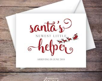 Santa's Little Helper Baby Announcement, Christmas Baby Announcement, INSTANT DOWNLOAD, DIY Printable, Template, Editable pdf