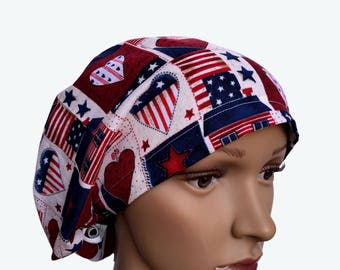 Euro Scrub Hat - Vintage Patriotic Design Scrub Hat for women - Slouchy hat with Cute Patriotic Fourth of July Holiday