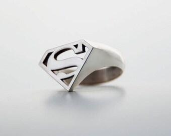 Superman ring, mens ring, Comics jewellery, super hero jewellery, Superman ring logo, superhero jewellery, Superman fan jewellery