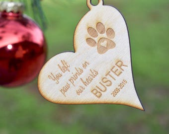 Pet Ornaments, You left paw prints on our Hearts Ornaments, custom Ornament