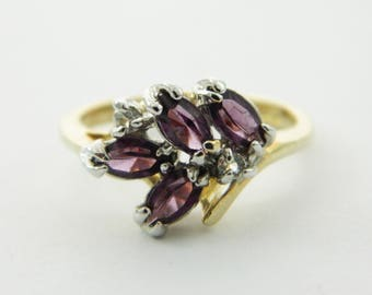 14KT Gold Plated Amethyst CZ Cluster Ring - VPE204