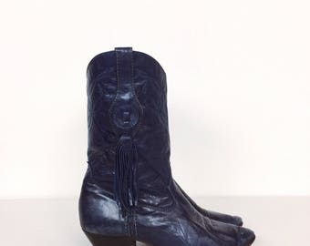 Laredo Made in USA Navy Blue Leather Embroidered Fringe Western Cowboy Boots // Women's size 7