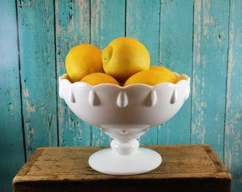 Scalloped Milk Glass Compote, Teardrop, Fruit Bowl, Candy dish, planter, wedding centerpiece, farmhouse, rustic, shabby chic, white glass