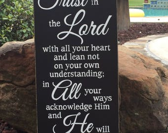 "Proverbs 3:5-6 Trust in the Lord with all your heart...Scripture Sign - 12"" x 24"""