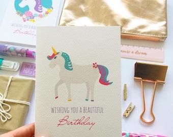 Birthday Card Girl | Unicorn Card | HBC247 | Happy Birthday Card | Girl Birthday Card | Greeting Cards for Girls | Fun Card | Handmade Card