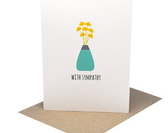 Sympathy Card | Bereavement Card | Thinking of You Card | Vase of Flowers | Card With Deepest Sympathy | Condolence Card | Sorry Card WDS019