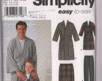 Mens Boys  housecoat Pattern, Simplicity 5329, men's boys housecoat, karate robe, kimono, robe pattern, opened, unused, easy to sew