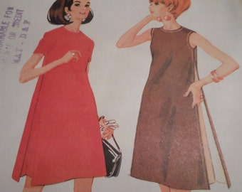 Vintage 1960's McCall's 9069 Dress Sewing Pattern Size 10 Bust 32.5
