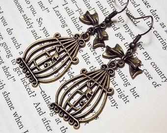 Bronze Birdcage Earrings