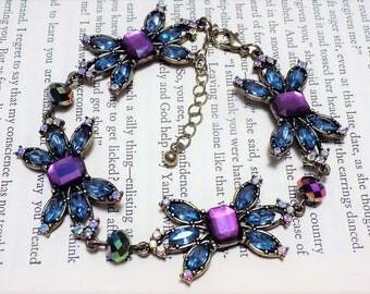 Blue and Purple Art Deco Inspired Bracelet