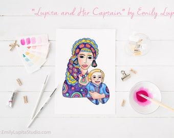 Art Print / Painting Card Invitations Stationary  / Nursery Children Baby Boy's Room / Wall Art Mother Son Motherhood New Baby Shower Gift