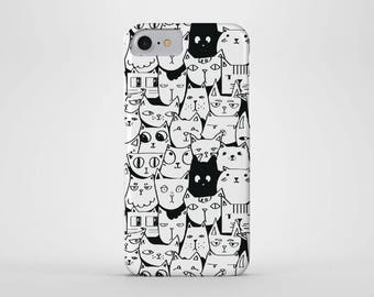 Cat Cartoon Phone Case - iPhone and Samsung Galaxy Cases - Cats, Kittens, Pets, Animals, (All Sizes)