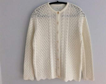 Vintage 60s White Lace Knit Granny Cardigan Sweater S/M
