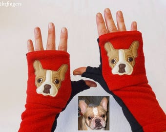 French Bulldog Fingerless Gloves with Pockets. Personalized Gift for Dog Lovers.