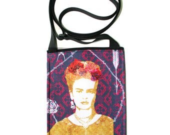 Frida Kahlo, purple, small cross body, vegan leather, zipper top, passport bag