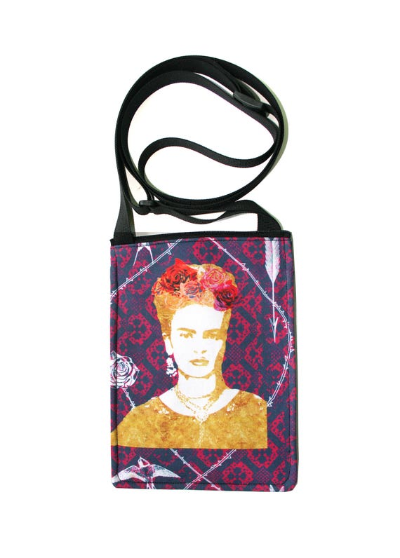 Frida Kahlo, purple, small cross body, vegan leather, zipper top, passport bag
