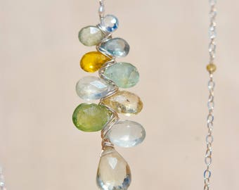 Sapphire and green amethyst-pebbles collection