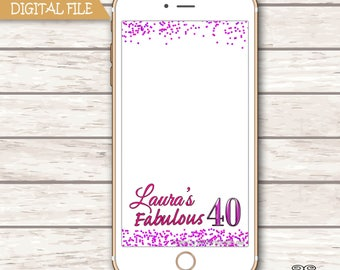 Birthday Snapchat GeoFilter, 40th Geofilter, Confetti Filter, , Personalized Snapchat Filter,Adult Birthday Filter, Any Age 20, 30, 50. 60