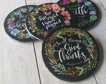 Coasters for Drinks, Bible Gift Coaster Set of 4 Christian gift Scripture accessory Inspirational gift Psalm Faith Hope Best Friend Gift H01
