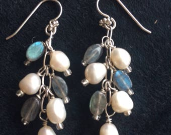 Labradorite and White Pearl Dangle Earrings