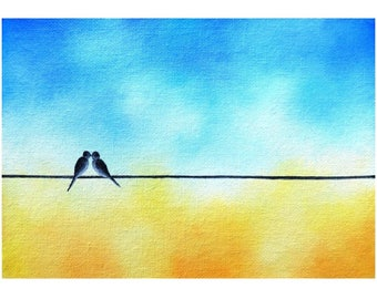 Love Birds on a Wire Art, Love Bird Painting, ORIGINAL Oil Painting, Whimsical Art Kissing Birds, Yellow & Blue Art, Silhouette Art, 5x7