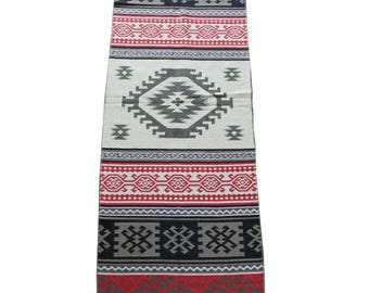 Long Kilim Runner - New Reversible Long Turkish Kilim Runner Rug in Grey, Red and Pink - 255cm