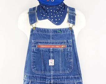 Vintage Denim Overalls Distressed Blue Bibs - Size 38 x 30 Large