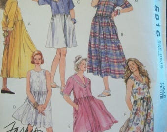 1990s McCalls Learn to Sew Pattern 5816 Uncut Sizes 10-12 Fashion Basics Jumpsuit or Dress/Tunic  in Two Lengths