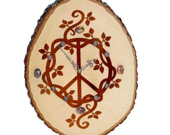 wood burned clock peace sign and vines with crazy lace agate gemstones