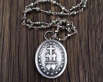 Antique French Silver Sacred Hearts Reliquary Locket Necklace, Miraculous Medal, Pyrite Gemstone Chain