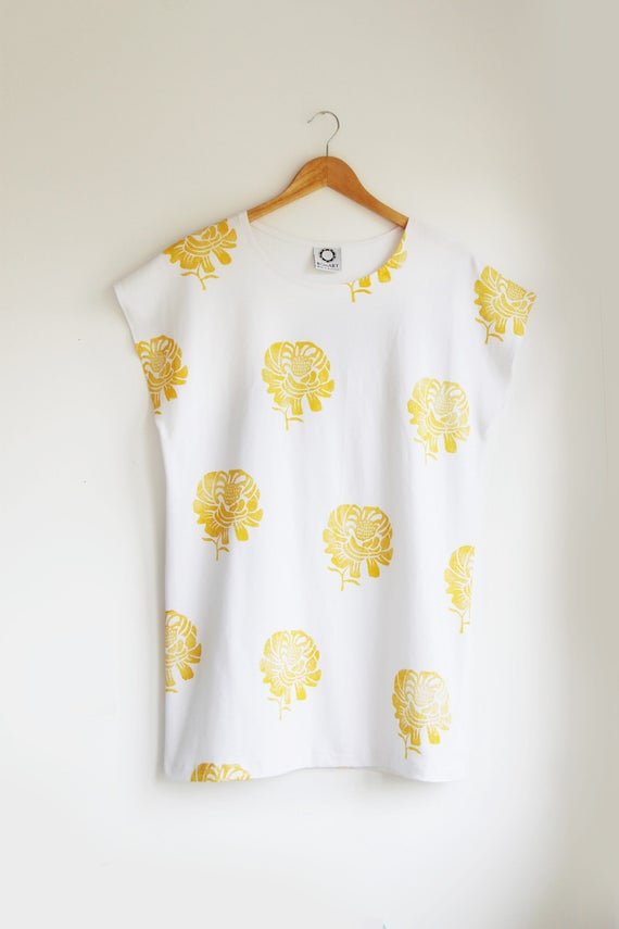 Golden Peonie Oversized Tee in White Jersey