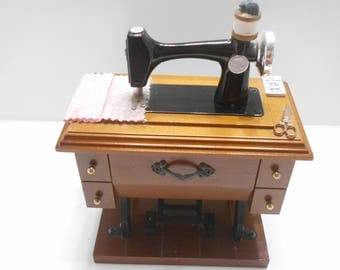 Vintage Miniature Treadle Sewing Machine Music Box Plays Buttons & Bows