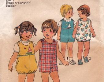 """FF 70s Simplicity 7456 Size 1, Baby Toddlers Romper Jumpsuit Bubble Suit, Summer Suit Vintage Sewing Pattern, Chest 20"""", UNCUT"""