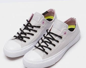 Light Gray Converse Chuck Taylor II Low Top Monochrome Mouse Pink Tencel Custom w/ Swarovski Crystal Rhinestone All Star Sneakers Shoes