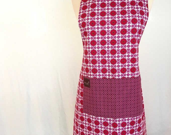 Womens Apron - Floral Print Apron - Organic Cotton Smock - Reversible Apron - Pink Apron - Matching Apron - Adjustable Apron