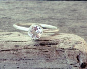 Diamond cut ring, topaz ring, dainty ring, organic engagement ring, diamond ring, faceted ring, promise ring, prong ring, wedding ring