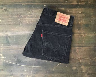 Levi Strauss 505 W32 Black Denim Shorts