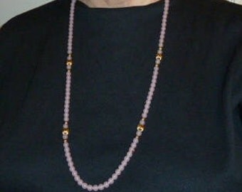 Necklace, Beaded Necklace, Bangle in Light Pink and Gold Tone.