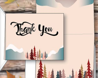Grand Budapest Hotel thank you card, rustic forest woods thank you card, whimsical woodland thank you card